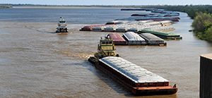 Barges on the river