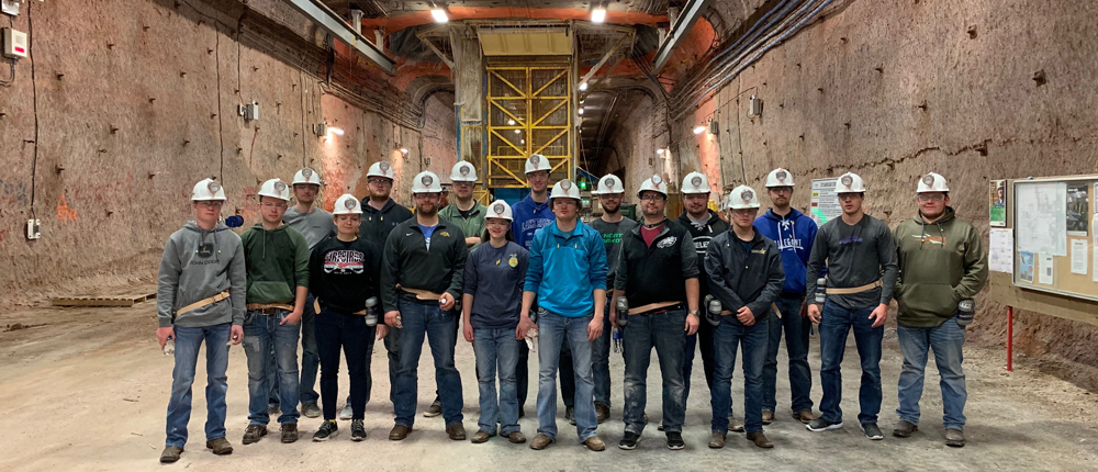 Students visiting a potash mine in Canada